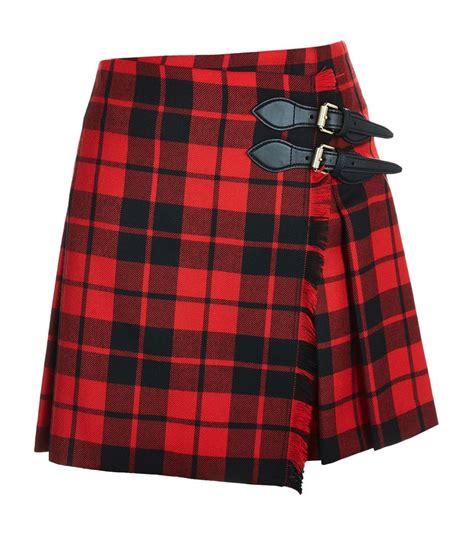 burberry tartan wrap mini skirt in lyst
