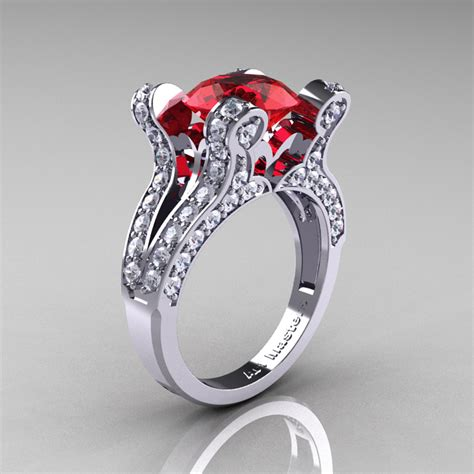 French Vintage 14K White Gold 3.0 CT Ruby Diamond Pisces