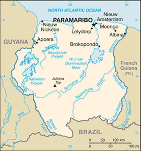 where is suriname on world map the geography of suriname
