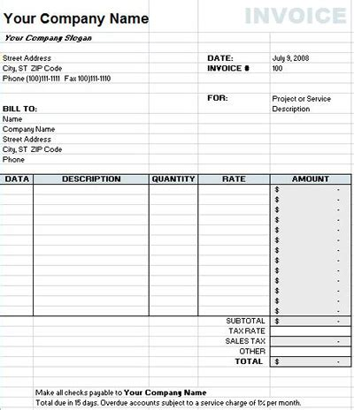 best photos of excel invoice spreadsheet template free