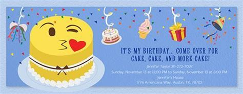 emoji birthday card template 150 free printable birthday invitation card templates