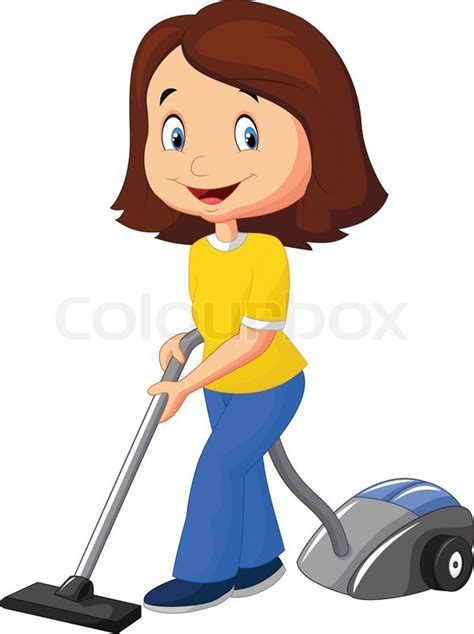 Draw Floor Plans Free by Vector Illustration Of Mom Cartoon With Vacuum Cleaner