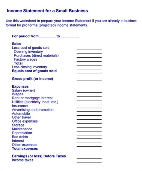 7 free income statement templates excel pdf formats