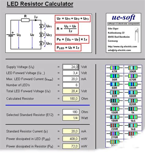 resistor value calculator for led ledcalc