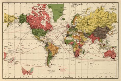 vintage world map print antique wall map restored