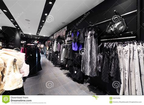 european clothing store with collection royalty free