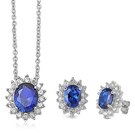 sterling silver blue sapphire earring and necklace set