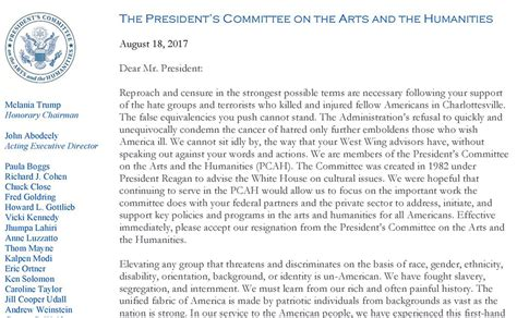 Resignation Letter Arts And Humanities Committee members of president s arts committee resign en masse in