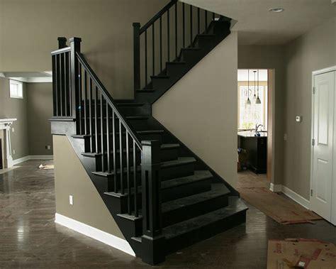transitional black stairs railings morse lumber