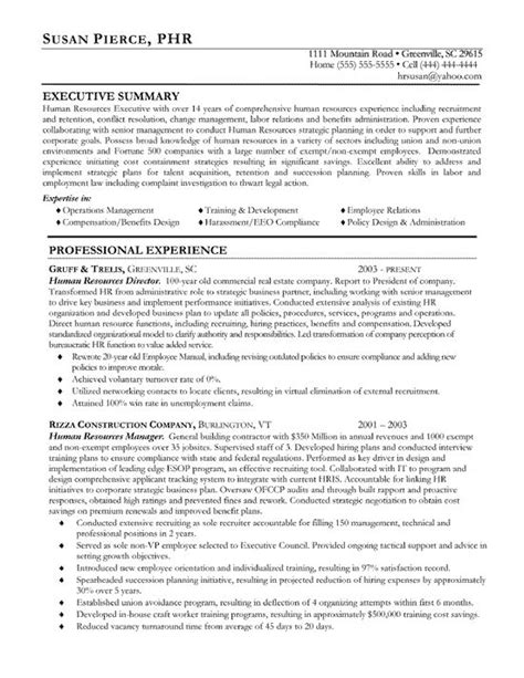 resume resources exles 15 best human resources hr resume templates sles
