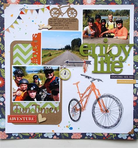 scrapbook layout cycling enjoy life scrapbook com made with simple stories