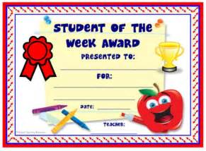 Student Of The Week Certificate Template Free by Achievement Award Certificates