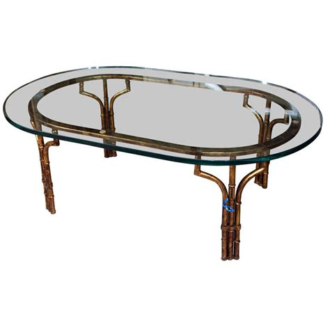 Bamboo Glass Coffee Table Gilt Faux Bamboo Coffee Table With Glass Top At 1stdibs