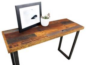 White Wood Bathroom Furniture - reclaimed wood patchwork hall table with metal legs