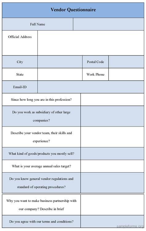 vendor survey template vendor questionnaire form sle forms