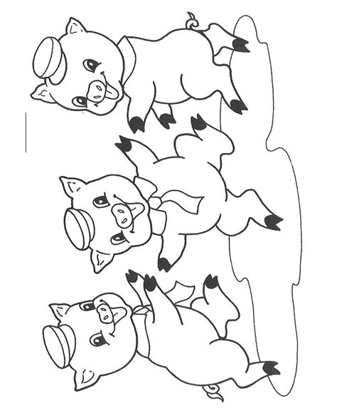 Three Pig Coloring Pages free coloring pages of pigs