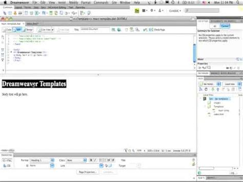 basic dreamweaver templates adobe dreamweaver cs4 basic templates