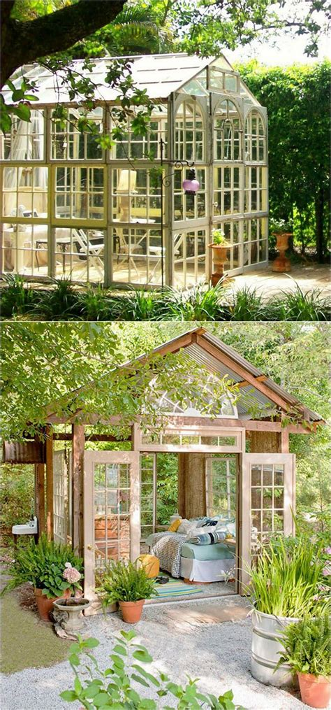 Greenhouse From Salvaged Windows Decor 1202 Best Images About Greenhouses Garden Houses Tree Houses Guest Houses Sheds On