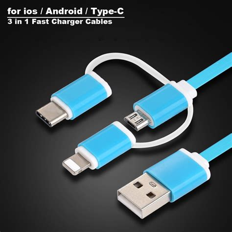 new micro usb cable type c 8pin 3 in 1 for iphone 7 6 6s plus ios 10 9 8 android xiaomi lg cable