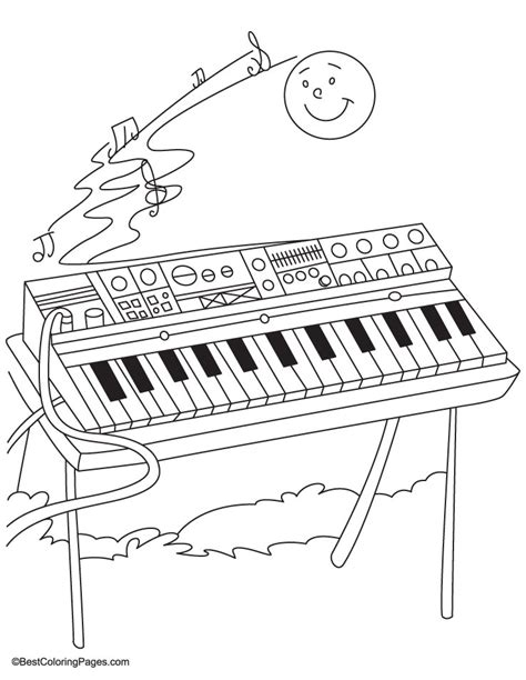 coloring page keyboard synthesizer coloring pages free synthesizer