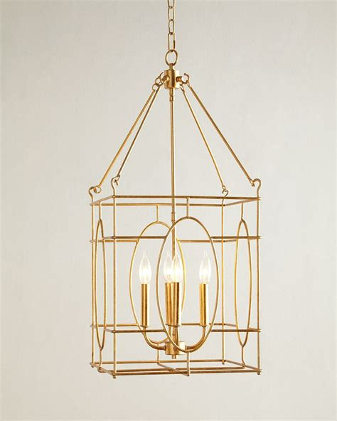 Fallon 4 Light Lantern Chandelier Gold Neiman Marcus