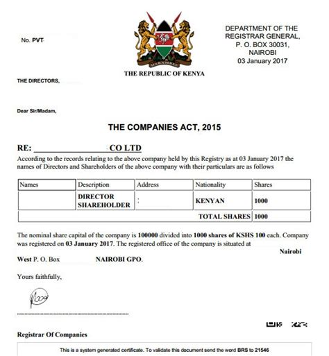 section 975 certificate eregulations kenya