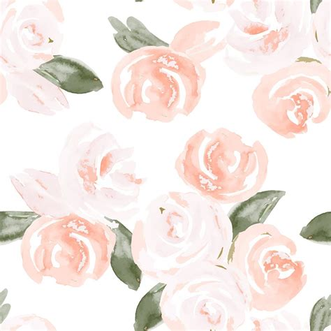 salmon colored flowers background watercolor boho floral removable wallpaper salmon
