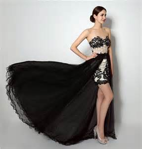 fashion high low black lace tulle corset prom dress with