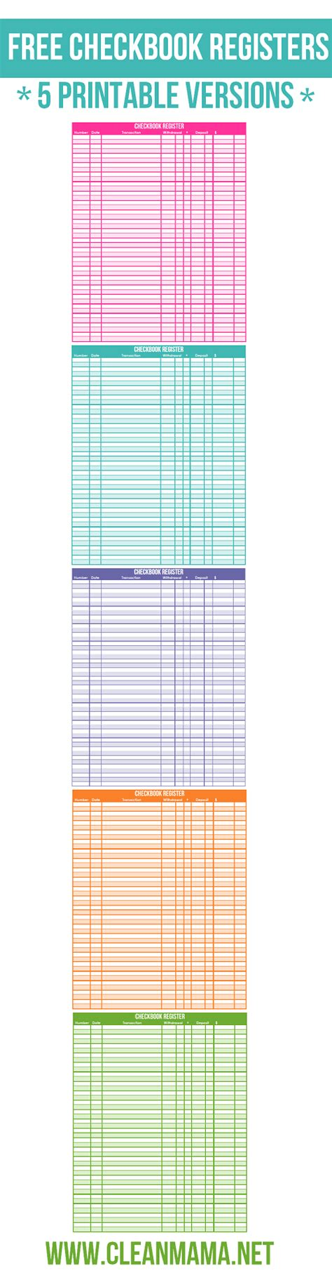 Free Checkbook Registers 5 Printable Versions Clean Mama Free Printable Check Register Templates