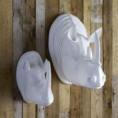 How To Make Paper Mache Wall - papier mache animal sculpture rhinos west elm