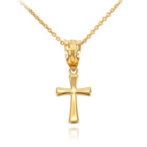 10k yellow gold rounded small cross pendant necklace