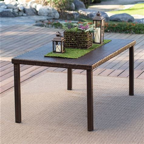 Resin Wicker Dining Table Brown 63 Inch Outdoor Resin Wicker Rectangular Patio Dining Table Seats 6