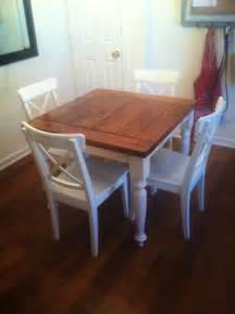Square Kitchen Table White Square Turned Leg Farmhouse Kitchen Table Diy Projects