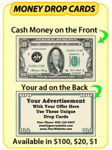 money business card template drop cards sizzle cards 20 dollar bill drop cards