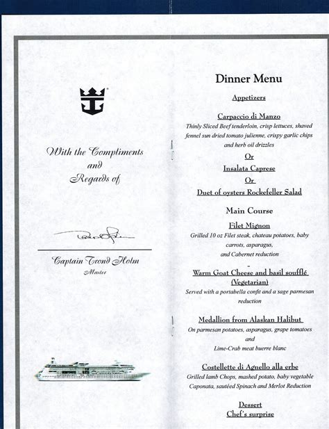 Table Six Menu photo captains table menu grandeur 6 nt compass album