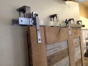 barn door hardware bypass reclaimed oak and pabst blue ribbon factory floor bypass