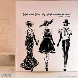 Stickers For Walls wall decals fashion models with coco chanel quote surface