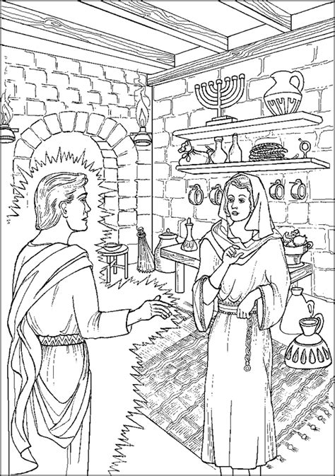 coloring page of angel and joseph angel appears to mary coloring page