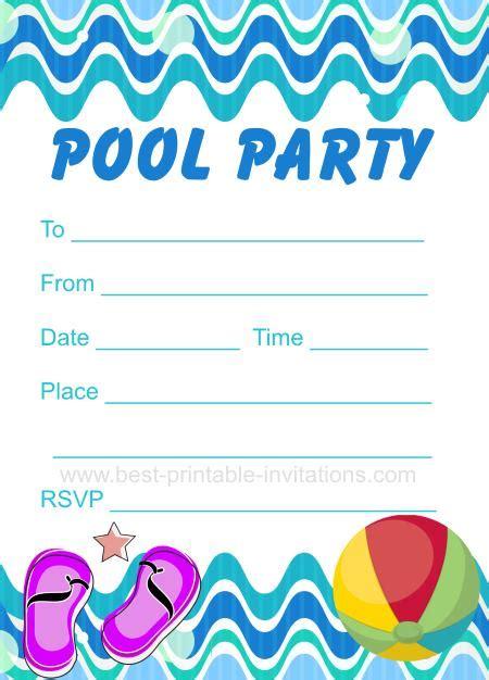 Printable Pool Party Invitation Pool Invitation Template