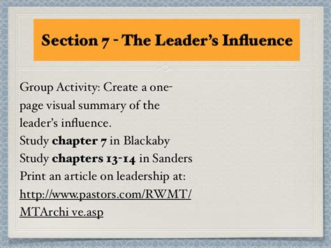 Section 7 Summary by Section 7 L Influence Part 2