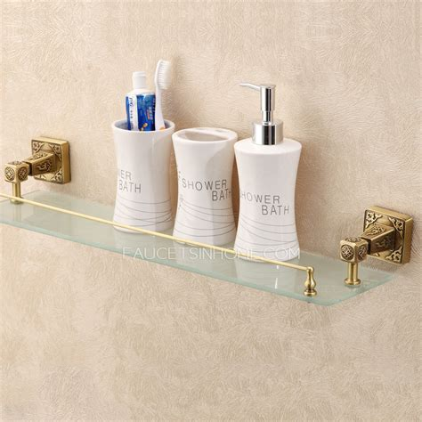 Vintage Bathroom Shelves Antique Bronze Single Bathroom Glass Shelves