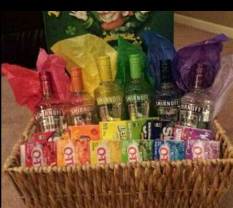 Birthday Themed Raffle Basket | jello shot basket gift or theme basket ideas pinterest