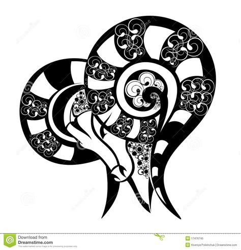 zodiac signs aries tattoo design royalty free stock