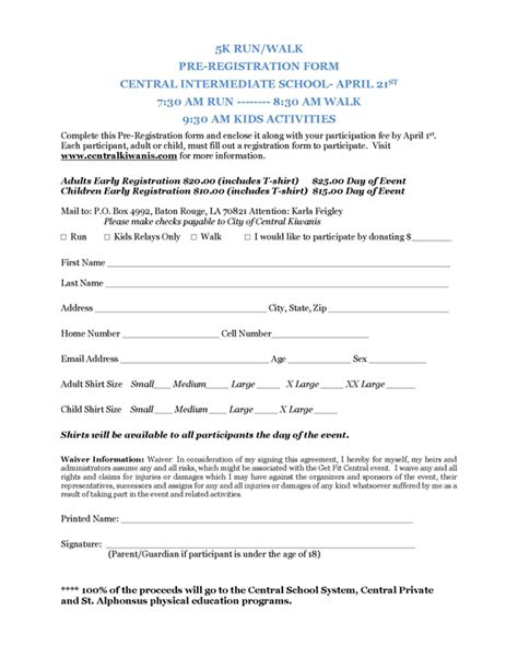 race registration form template registration form template for 5k pdf katherine crabtree