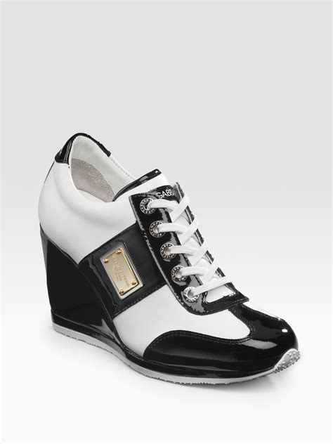 black and white wedge sneakers dolce gabbana wedge laceup sneakers in multicolor black