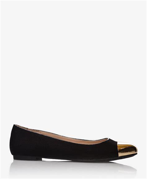 forever 21 flat shoes forever 21 cap toe ballet flats in black black gold lyst
