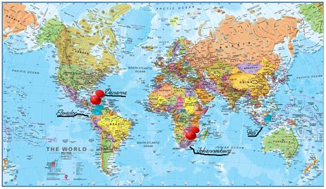 world map of cities and countries world maps with countries names and cities