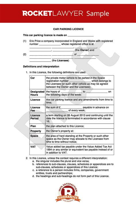 desk rental agreement template rent a parking space create a car parking licence