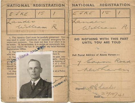 world war 2 identity card template southern railway pass 1941 national registration