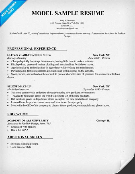 Model Resume Format by Fashion Model Resume Format Modeling Resume Sle